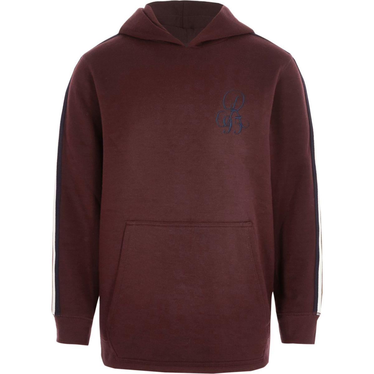 Boys dark red tape sleeve hoodie