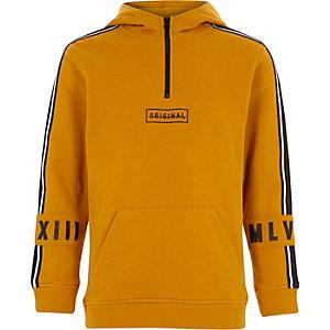 Sweat à capuche jaune à col zippé pour garçon