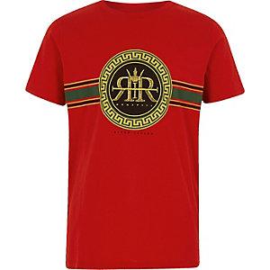Rood T-shirt met rond RI-logo voor jongens