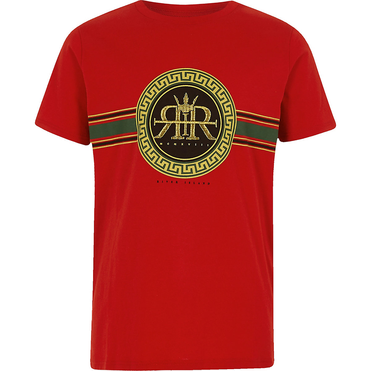 Boys red RI circle logo print T-shirt