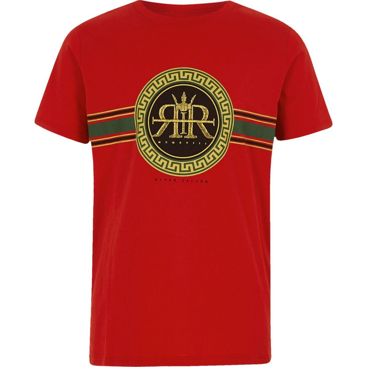 Boys red RI circle logo print T-shirt
