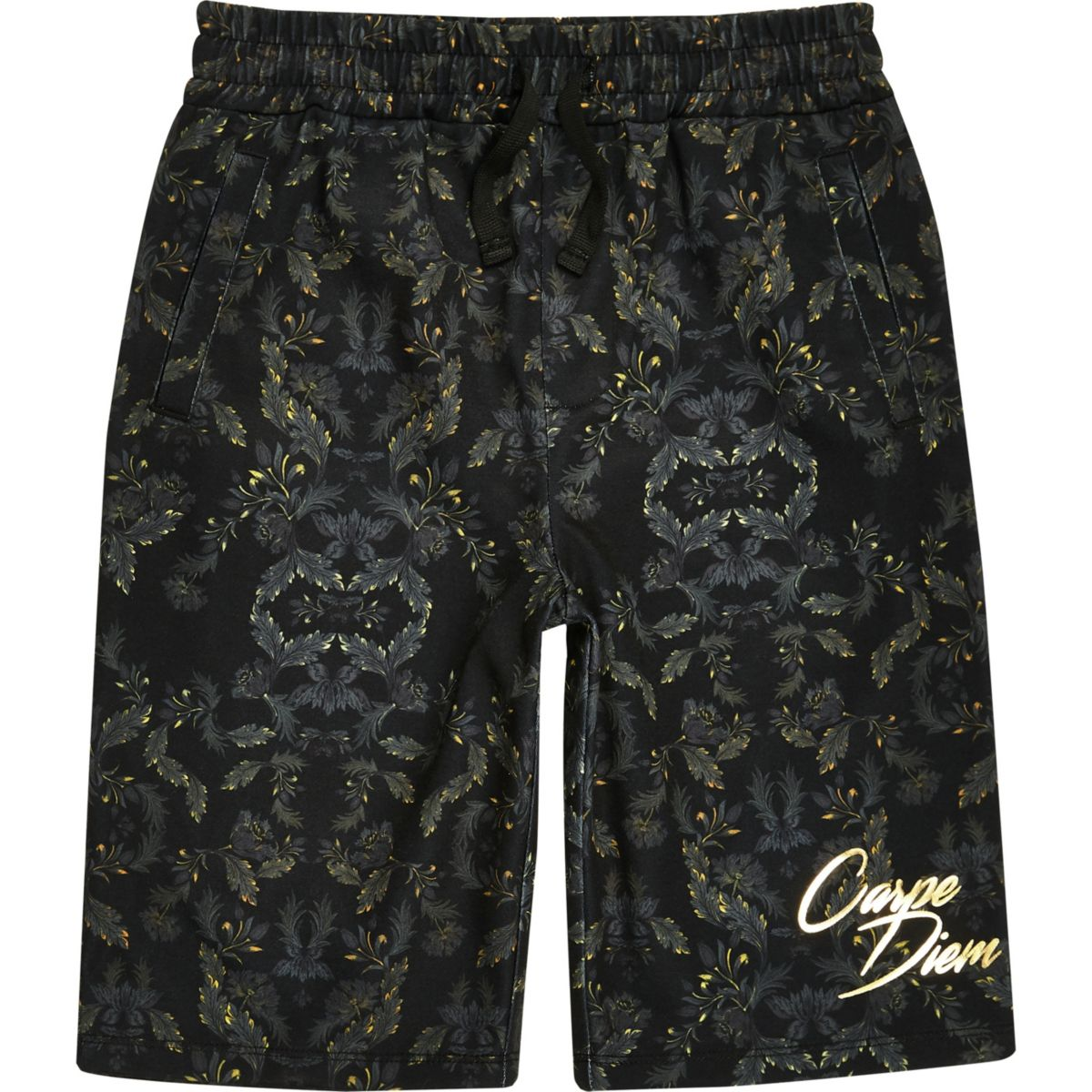 Boys khaki 'carpe diem' leaf print shorts