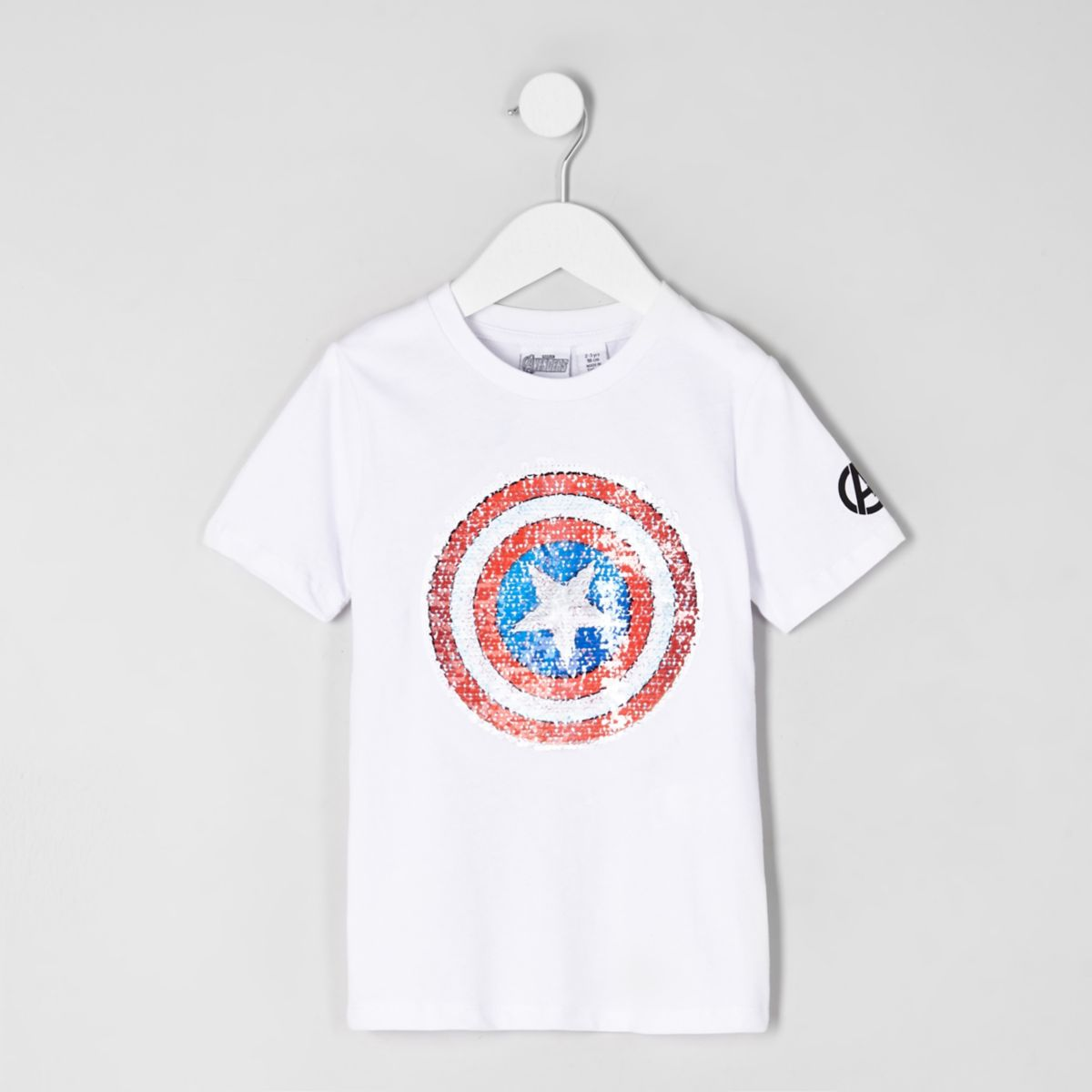 Mini boys white Avengers reverse T-shirt