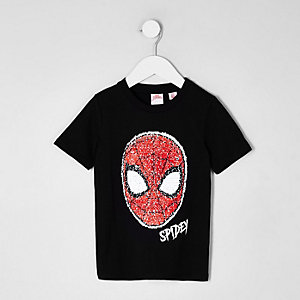 Mini boys black Spider-man reverse T-shirt