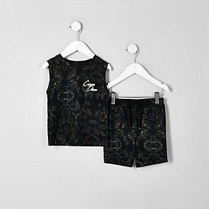 Mini boys khaki 'carpe diem' vest top outfit