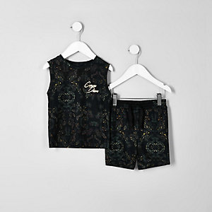Mini - khaki 'carpe diem' tophempje outfit voor jongens