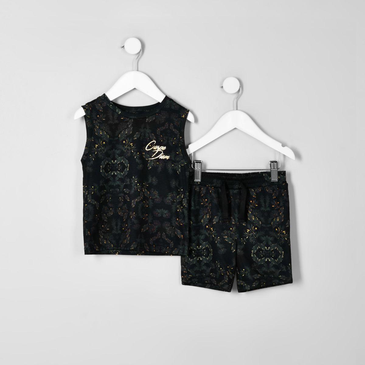 Mini boys khaki 'carpe diem' tank top outfit