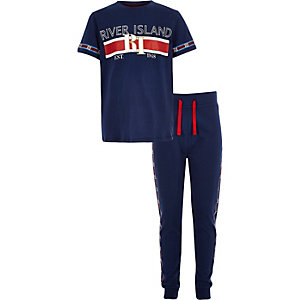 Boys navy RI branded tape pajama set