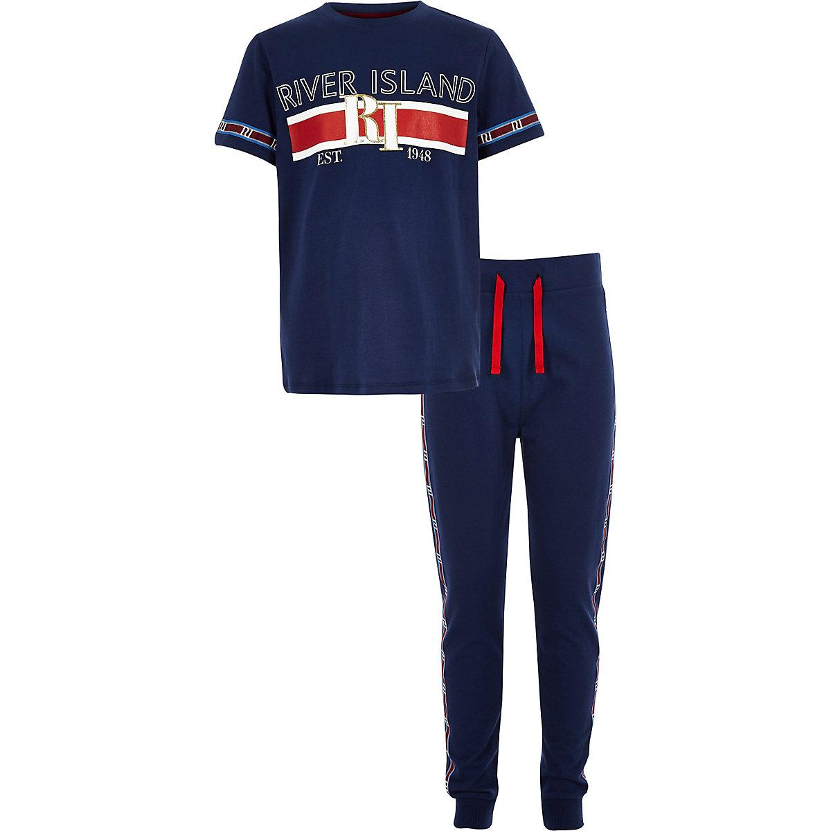Boys navy RI branded tape pajama set