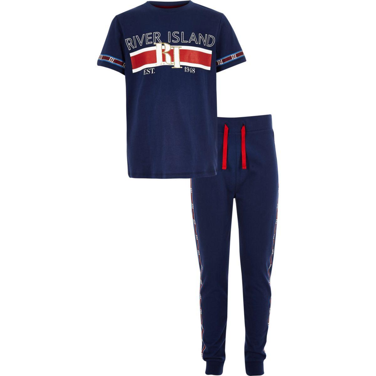 Boys navy RI branded tape pyjama set