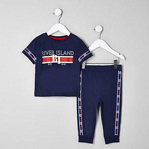 Mini - Marineblauwe pyjamaset met biezen met RI-logo voor jongens