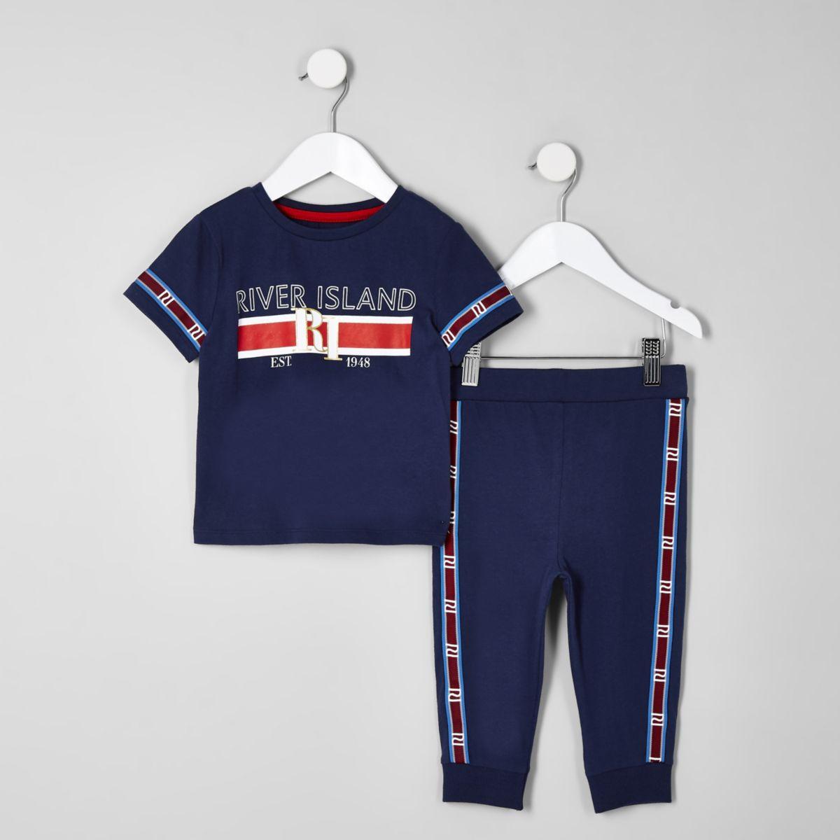 Mini boys navy RI tape pyjama set