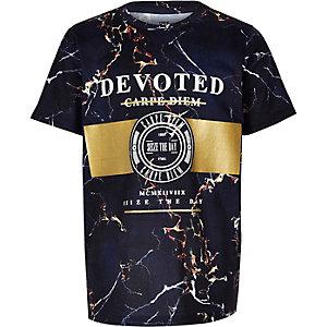 Boys navy marble foil print T-shirt