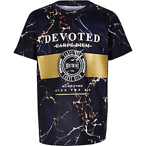 Marineblauw T-shirt met knikkerfolieprint voor jongens