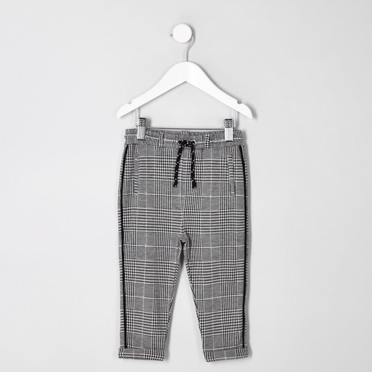 Mini boys grey check trousers