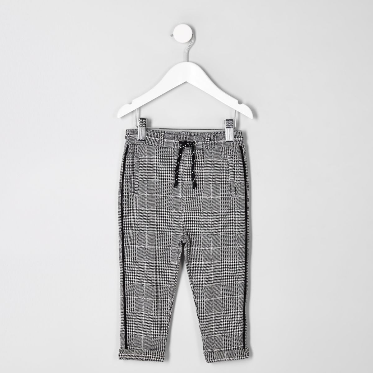 Mini boys grey check pants