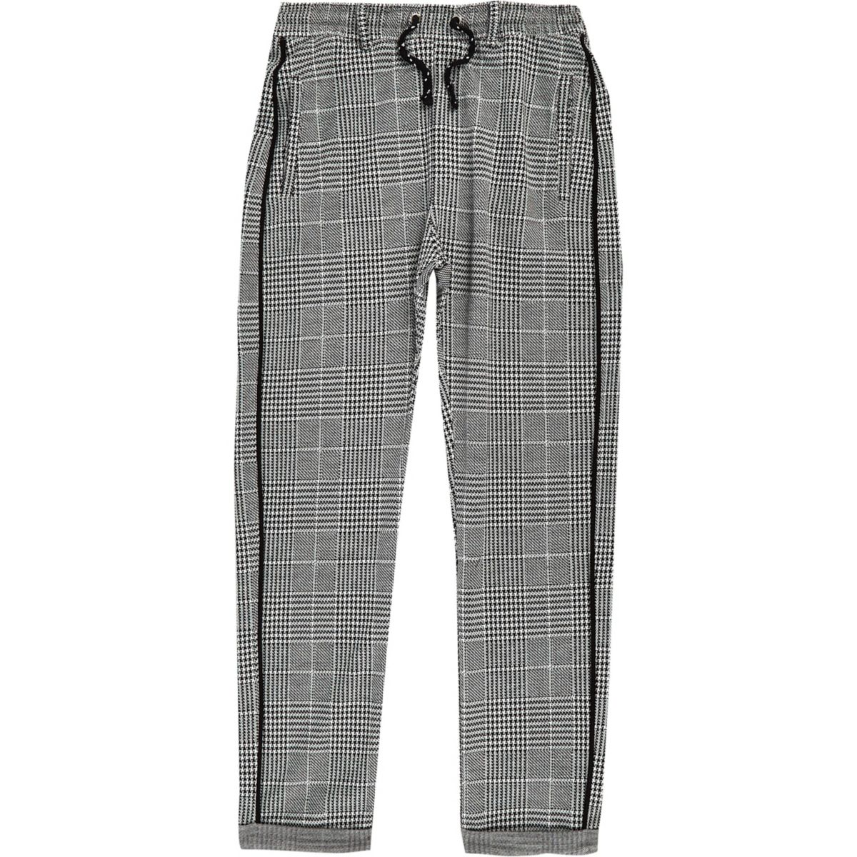 Boys grey check trousers