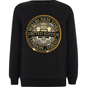 Boys black 'limited edition' sweatshirt