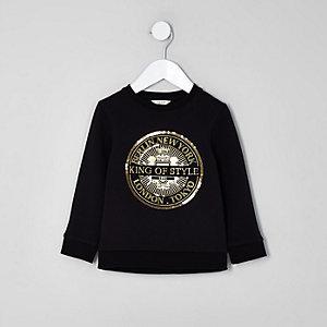 Mini - Zwart sweatshirt met 'King of style'-print voor jongens