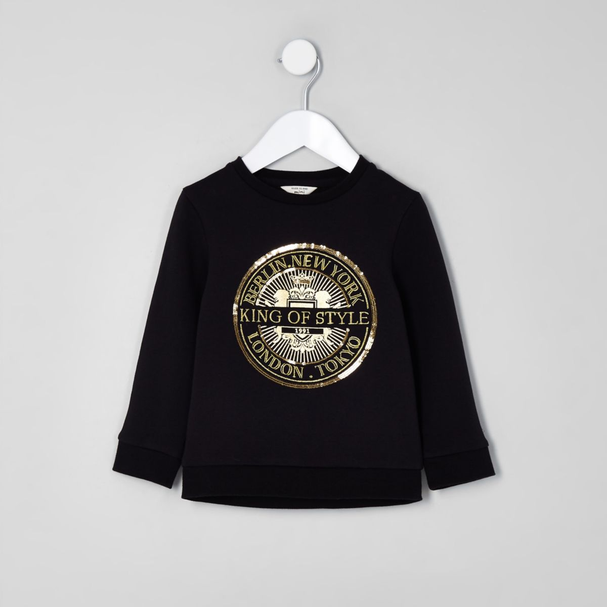 Mini boys black 'King of style' sweatshirt