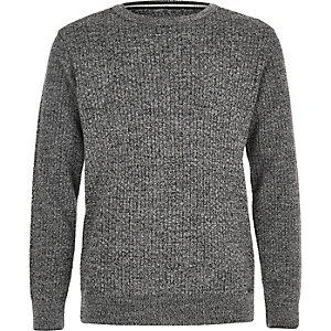 Boys grey mixed stitch sweater