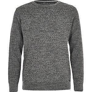 Grijze pullover met mix van stiksels voor jongens