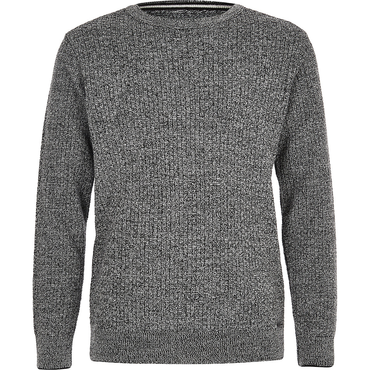 Boys grey mixed stitch jumper