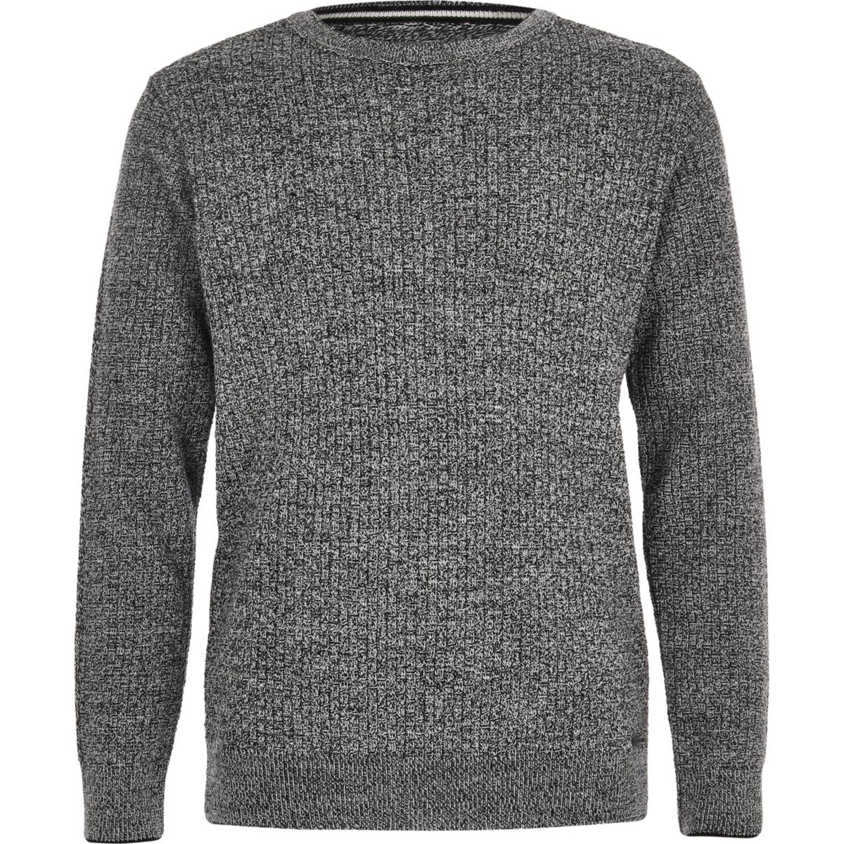 Boys grey mixed stitch jumper