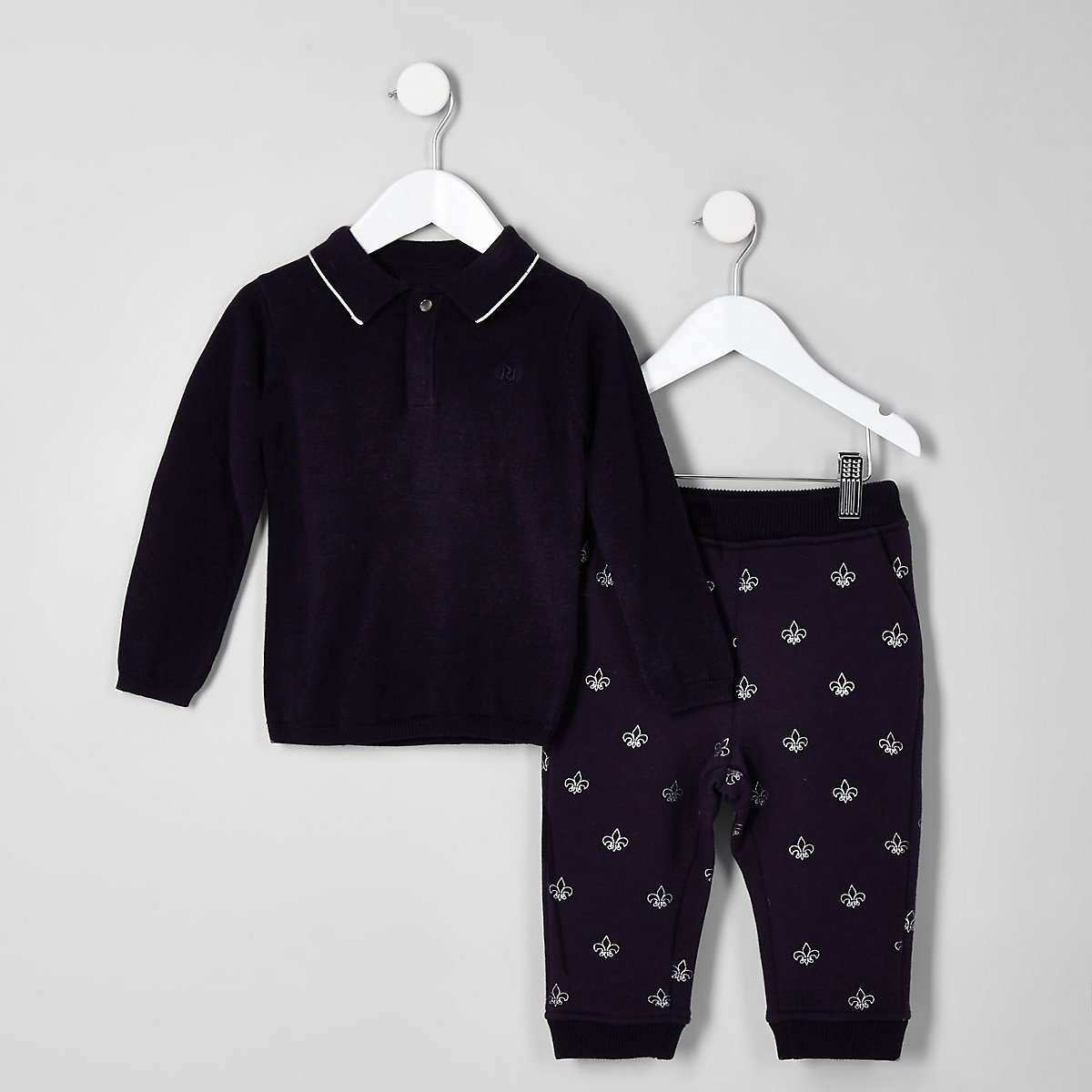 Mini boys navy knitted polo outfit
