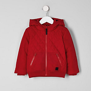 Mini boys red quilted hooded puffer jacket