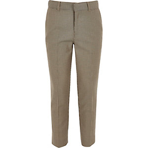 Boys brown check cropped skinny trousers