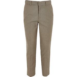 Bruine geruite cropped skinny broek voor jongens