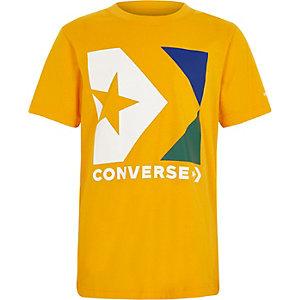 Converse – T-shirt jaune à logo pour garçon