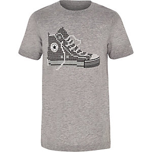 Converse – Graues T-Shirt mit Pixel-Print