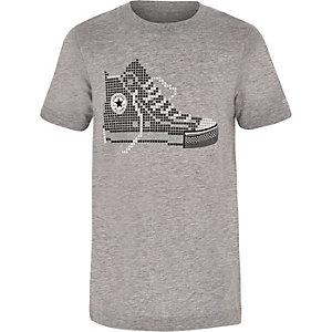 Converse – T-shirt à imprimé pixel gris pour garçon