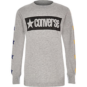 Boys Converse grey star long sleeve T-shirt