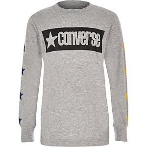 T-shirt Converse manches longues gris à motif étoile pour garçon