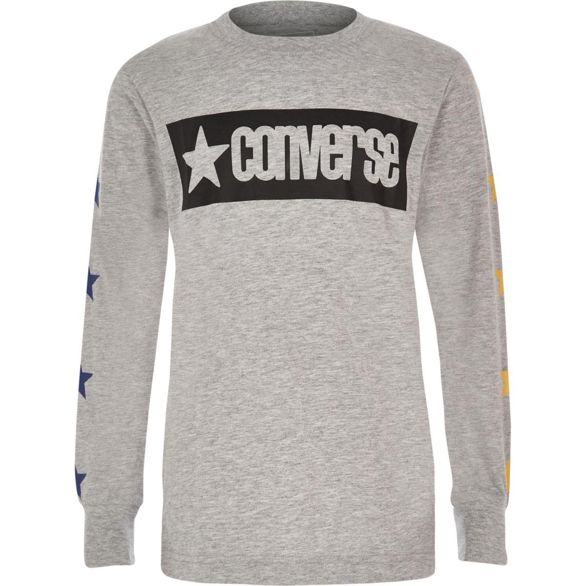 Boys Converse grey star long sleeve T-shirt