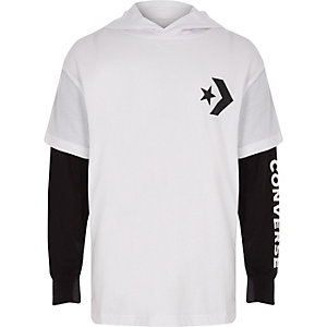 Boys Converse white hooded T-shirt