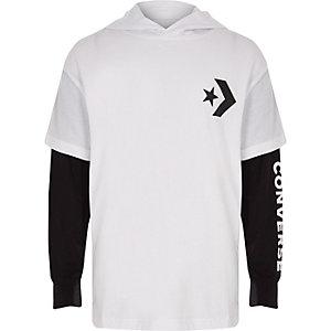 Converse - Wit T-shirt met capuchon voor jongens