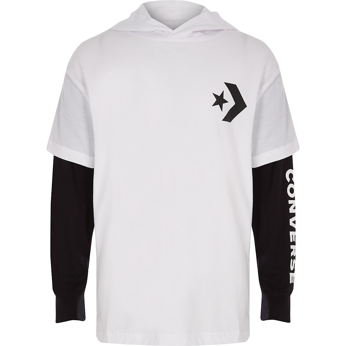 Boys Converse white hooded T-shirt