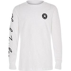 Converse - Wit T-shirt met lange mouwen voor jongens