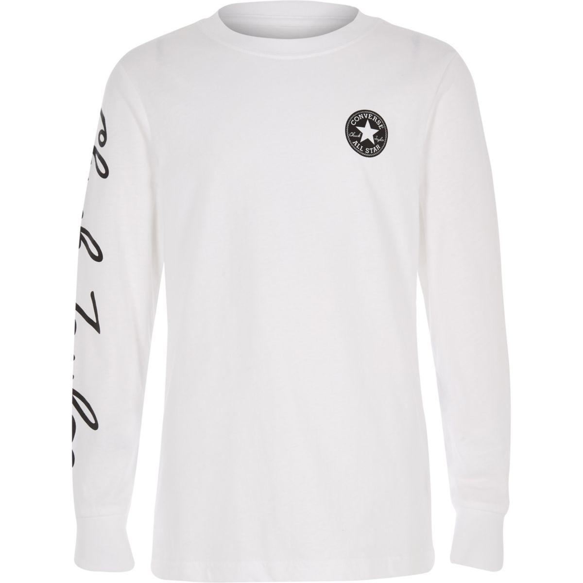 Boys Converse white long sleeve T-shirt