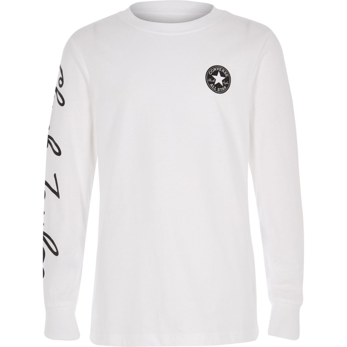 Boys Converse white long sleeve T-shirt