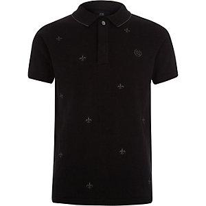 Schwarzes Polohemd mit Stickerei