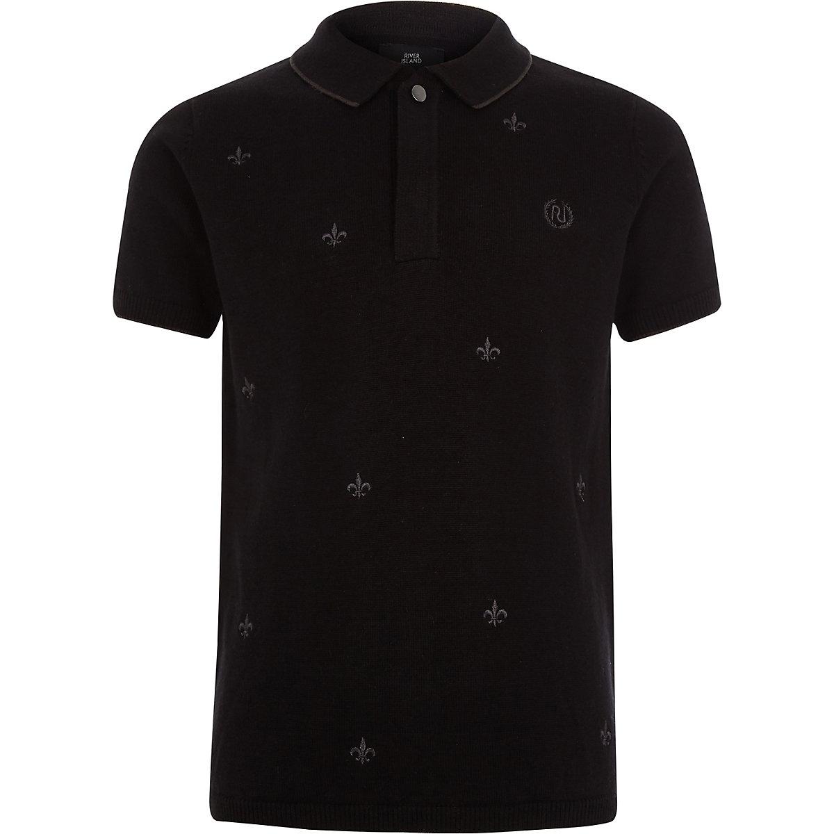 Boys black Fleur De Lis embroidery polo shirt