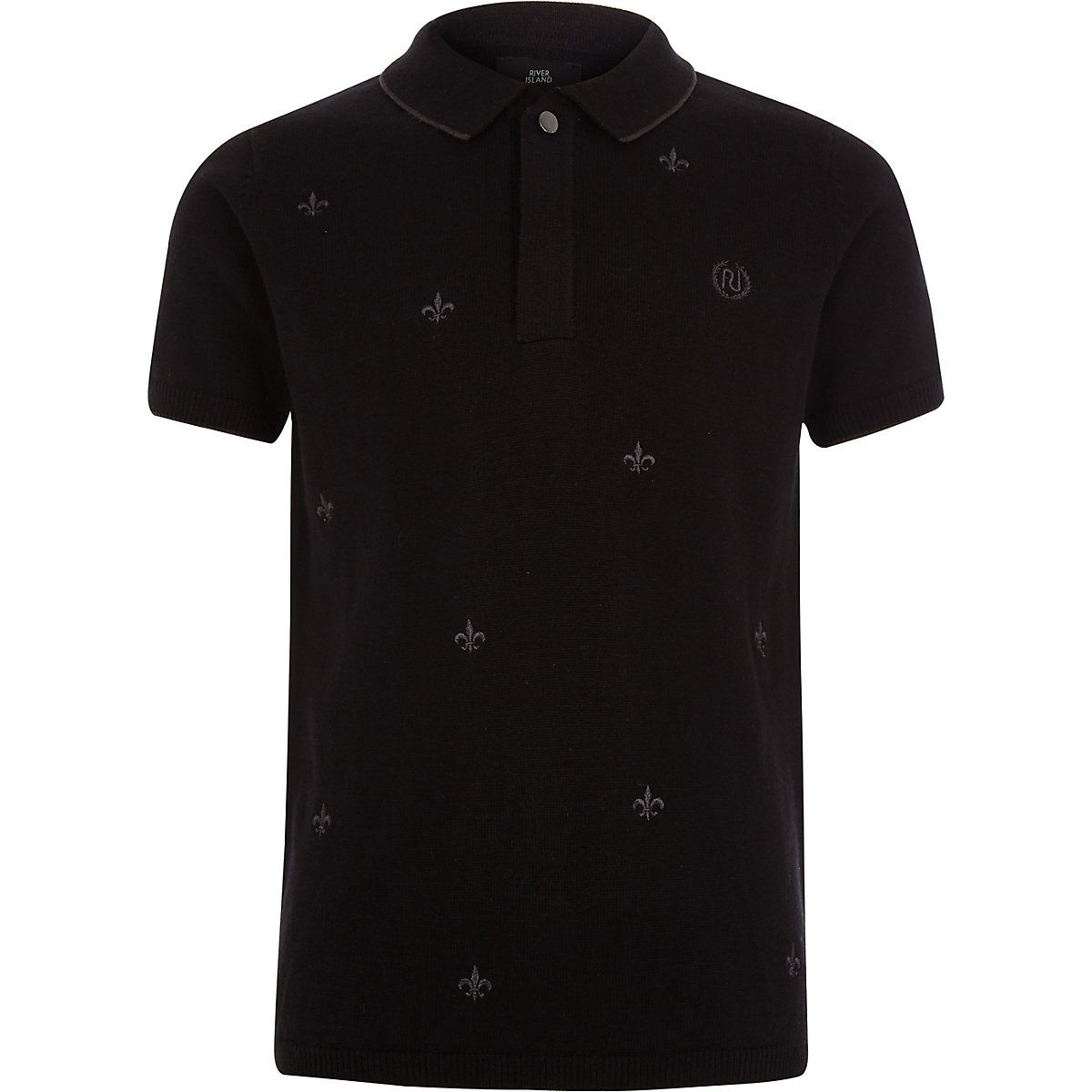 Boys black Fleur De Lis embroidery polo shirt