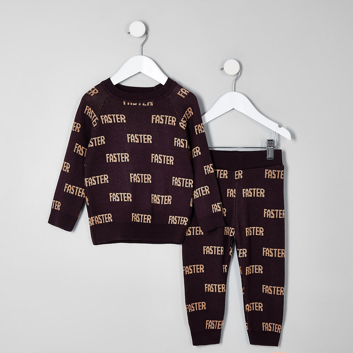 Mini boys red knit 'faster' jumper outfit