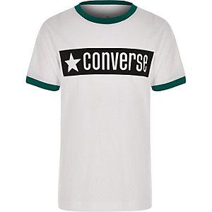 Converse – Weißes Ringer-T-Shirt