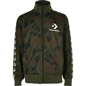 Converse - Kaki trainingsjack met camouflageprint voor jongens
